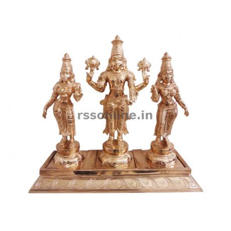 Perumal with Sridevi Bhudevi - Single Peeta