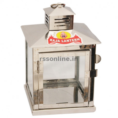 Stainless Steel Glass Lantern - Medium