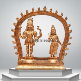 Shiva & Parvati  with Arch - Panchaloha