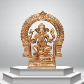Seated Ganesh With Arch - Panchaloha