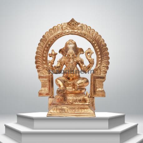 Seated Ganesh With Arch - Panchaloha