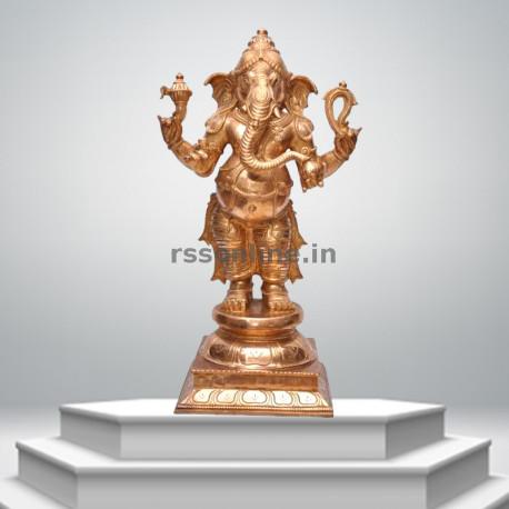 Edampuri Standing Ganesh - Panchaloha
