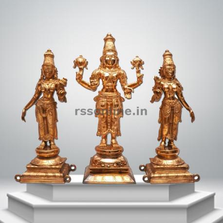 Perumal with Sridevi Bhudevi - Panchaloha