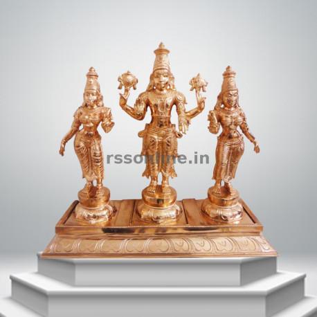 """Perumal with Sridevi Bhudevi - Single Peedam - 15"""""""